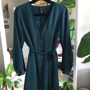 Dark Green Button- Front Dress